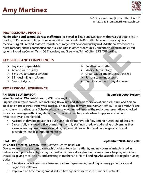 registered nurse sample resumes