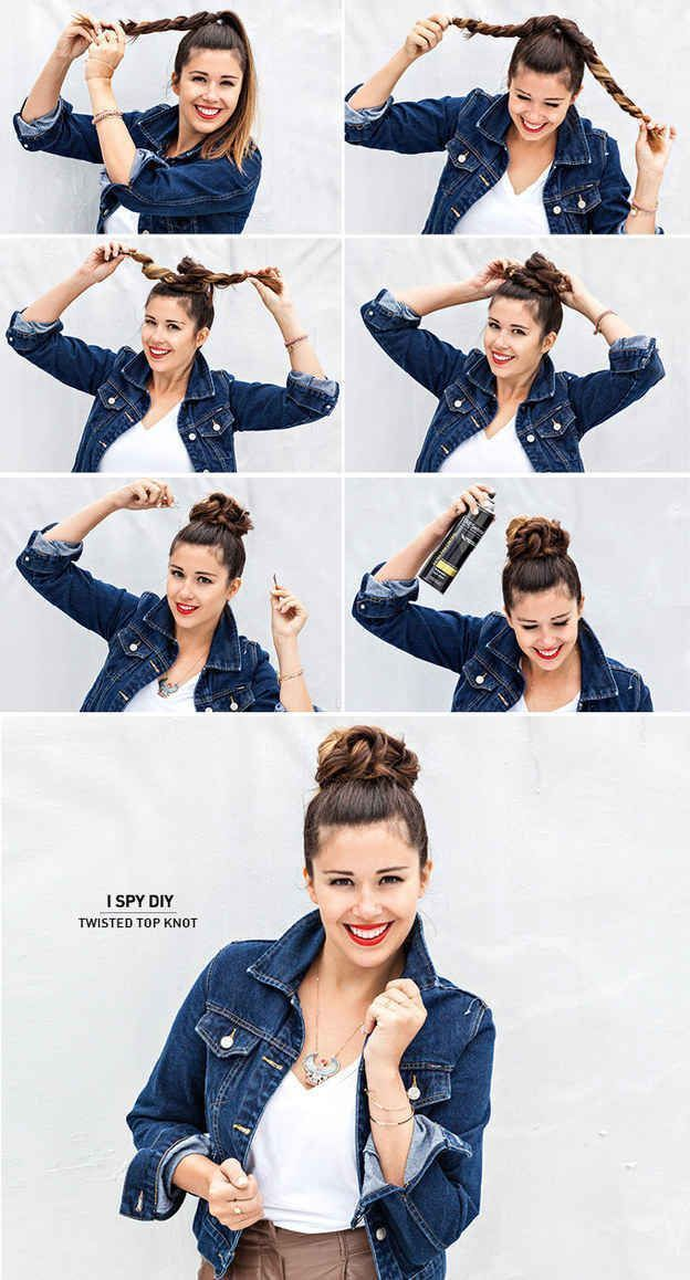 Diy Twisted Top Knot Long Hair Updo Bun Diy Hair Knot Diy Bun