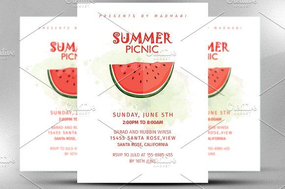 Summer Picnic Invitation By Madhabi Studio On Creativemarket