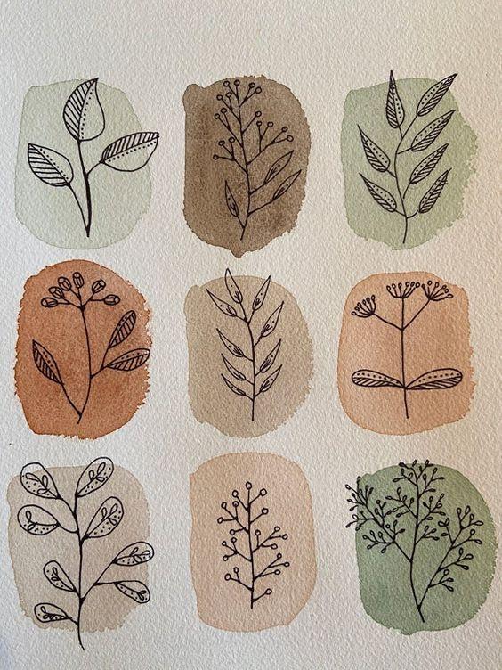 Handmade watercolor and ink artwork of autumn leav