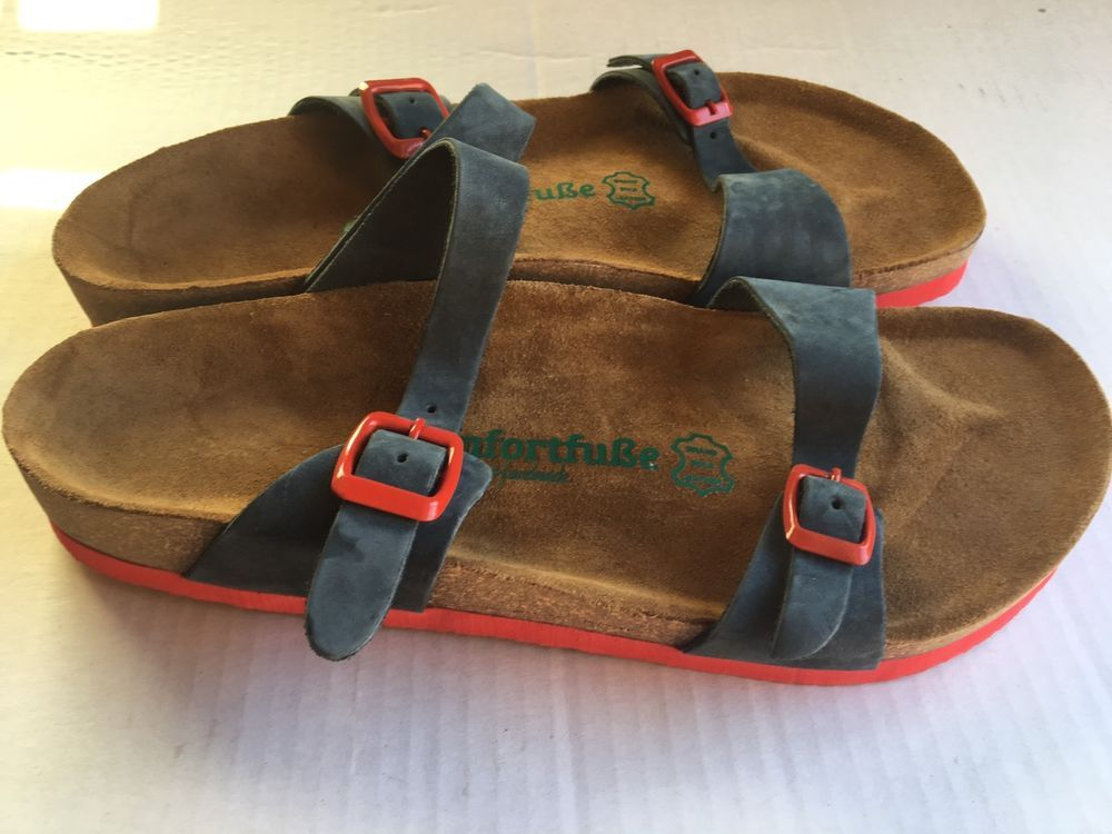 ada8219c9bc Comfortusse Sandals 41 Blue And Red New unissex cork Footbed.