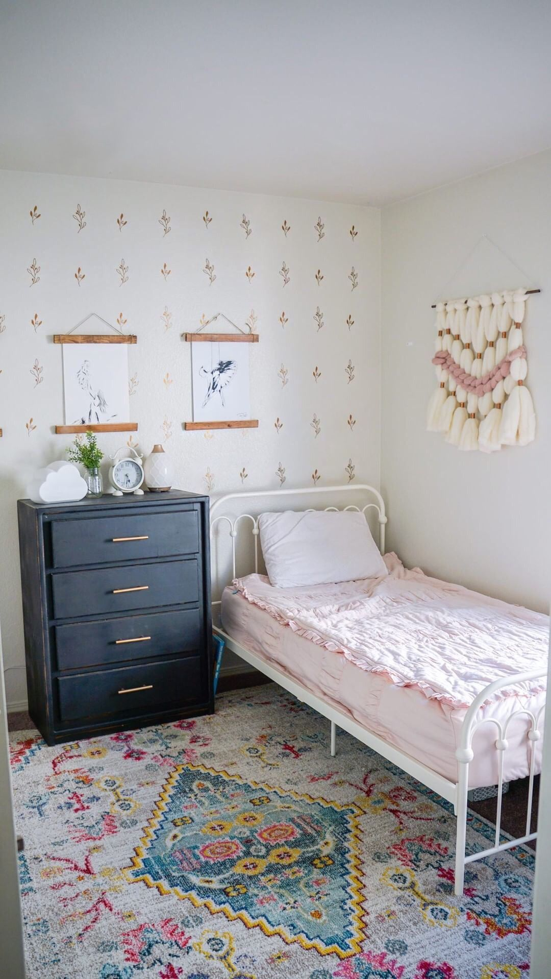 Olive Branch wallpaper, wall decals in copper. Cute boho