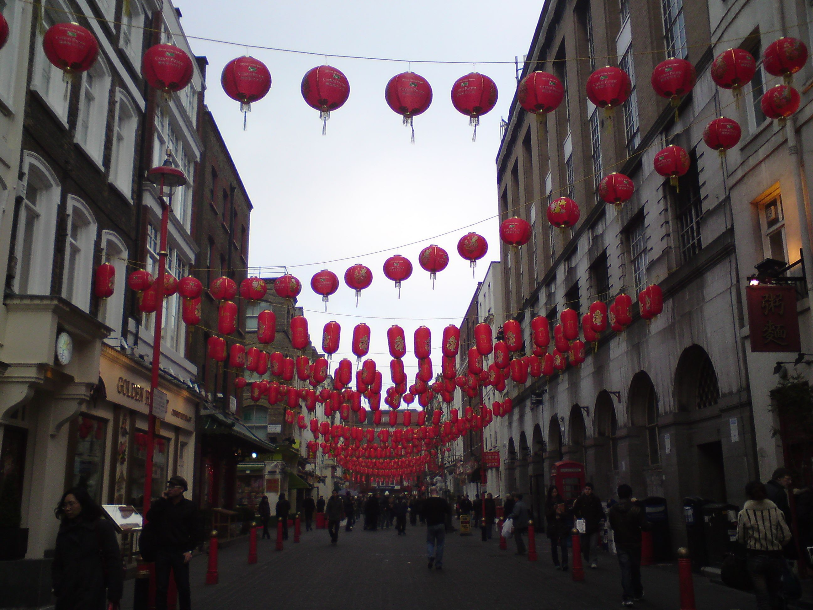 Chinatown, London. Chinese New Year decorations. Next ...