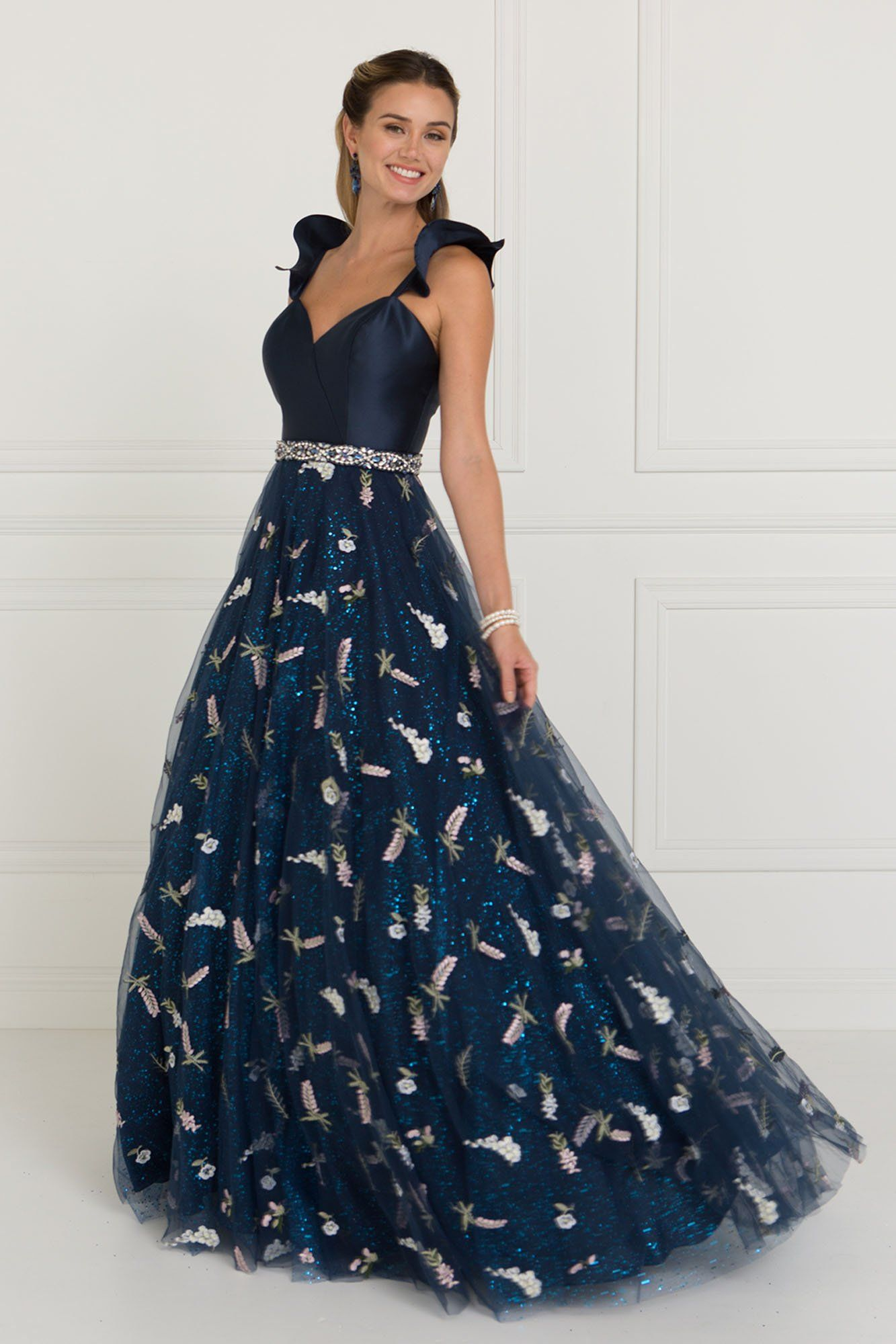 GLS 1578 - Navy Floral Print Sweetheart A-Line Satin Bodice with Open Back    Tulle Ball Gown 05a777596
