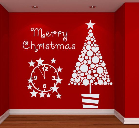 Merry Christmas Wall Decal Vinyl Sticker Wall Decor by CozyDecal ...