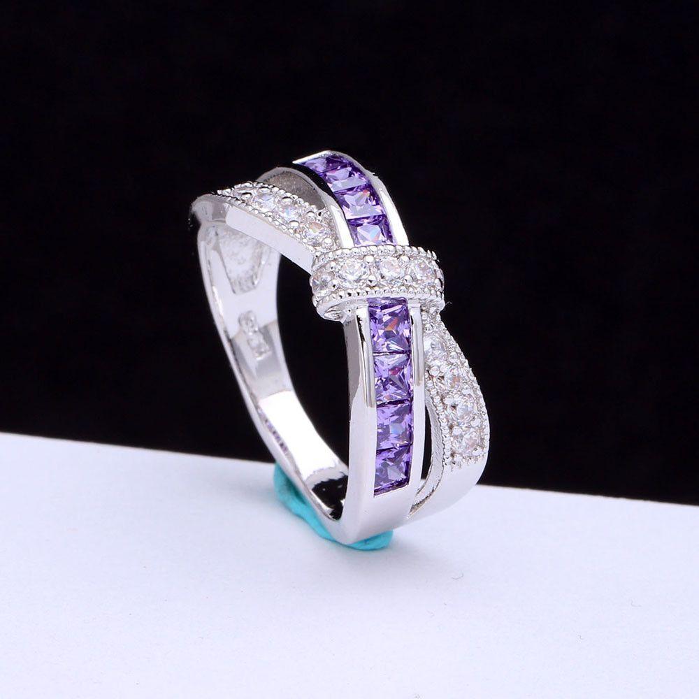 Amethyst Cross Finger Ring For Lady Paved Cz Diamond Princess Women Wedding Engagement Purple Pink