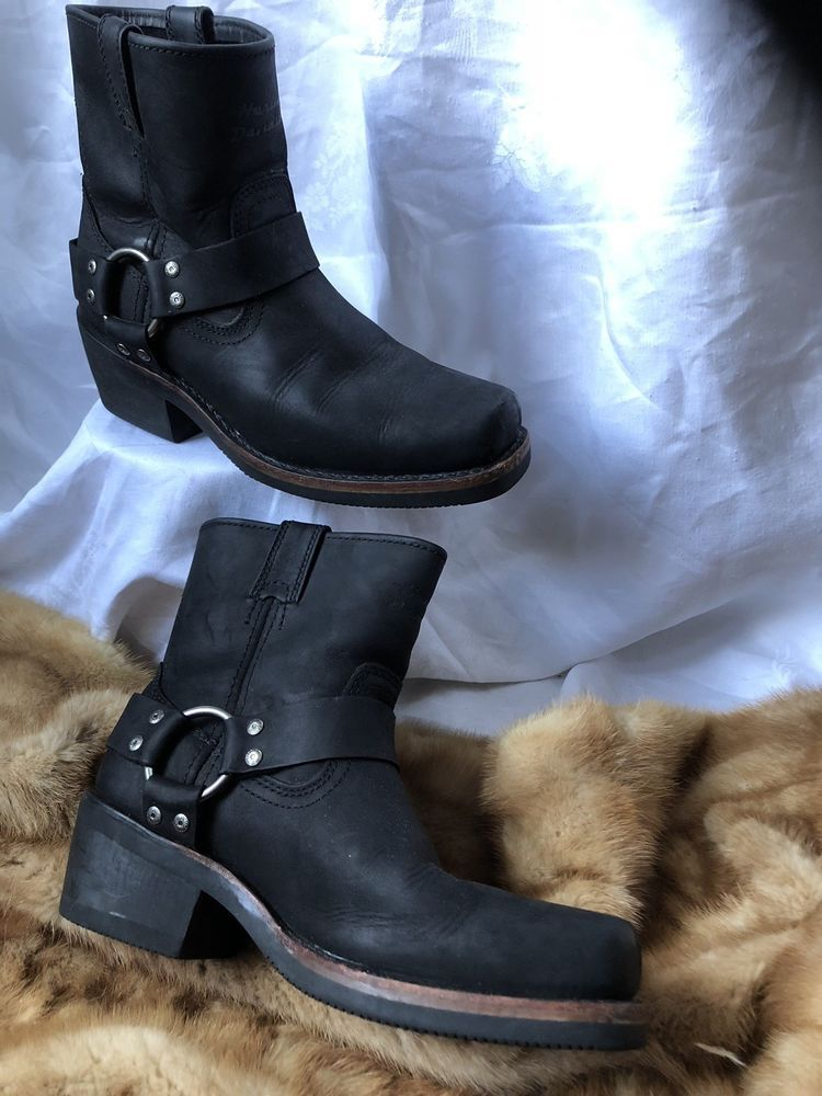 cf5e6f7ed Black HARLEY DAVIDSON SHORT HARNESS BOOTS WOMENS SIZE 8.5 Leather Biker  Chic!!!!