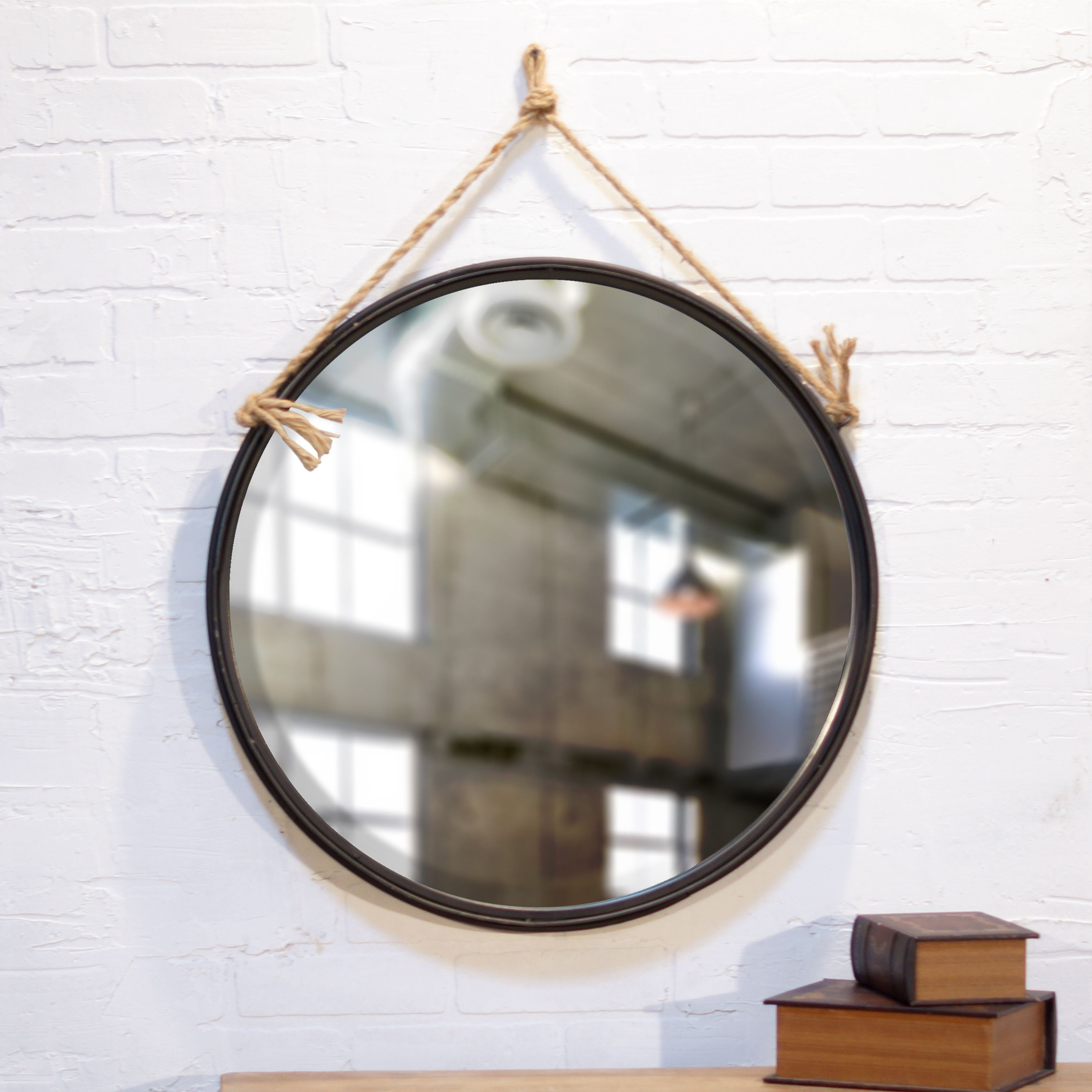 Round Metal Mirror With Rope Part - 50: American Mercantile Metal Round Rope Hanging Mirror
