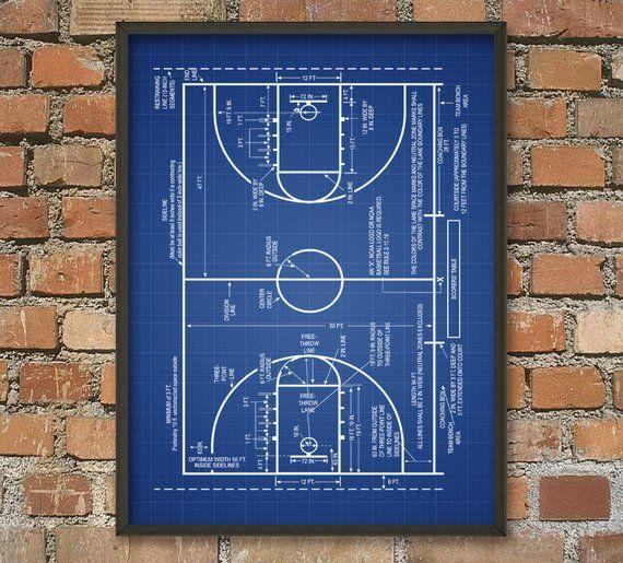 Basketball Court Print Basketball Court Schematic ...