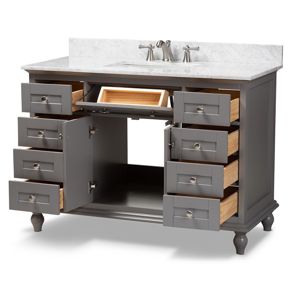 Baxton Studio Caroline 48 In W X 34 7 In H Bath Vanity In Gray