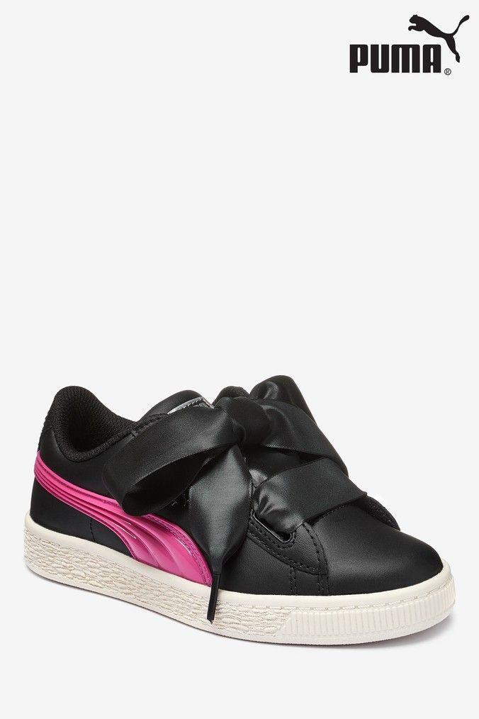 separation shoes size 40 large discount Girls Puma Basket Heart Jelly Junior Trainer - Black | Puma basket ...