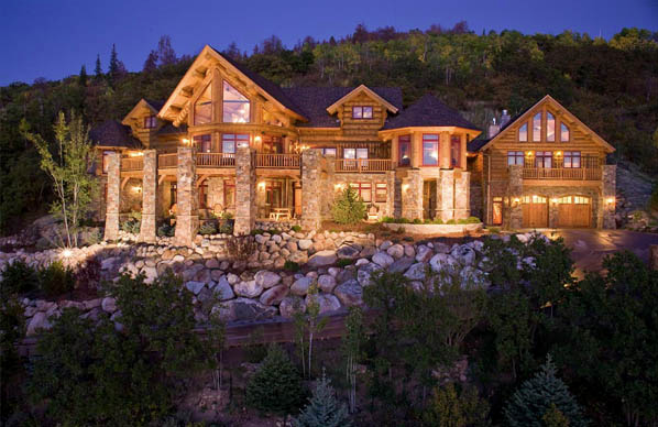 Glowing On A Mountain Side Luxury Homes Dream Houses Log Homes Dream House Exterior