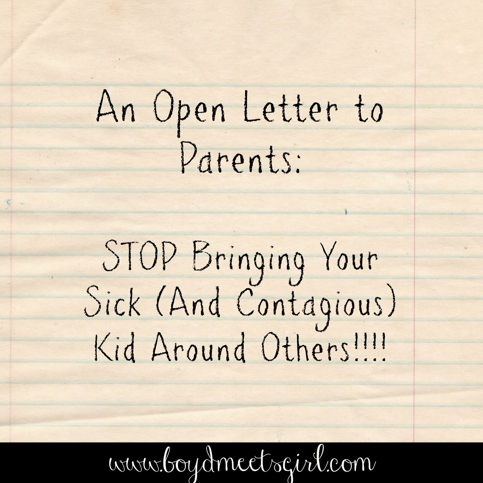 an open letter to parents of small children about bringing an open letter to parents of small children about bringing contagious sick kids around other kids