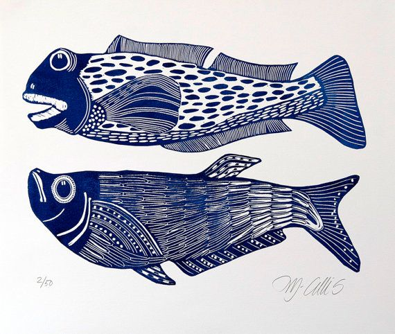 Linocut print big boys fish in blue on white paper by for Big fish printing