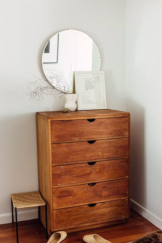Natural Wood Dresser With Circular Mirror Sfbybay