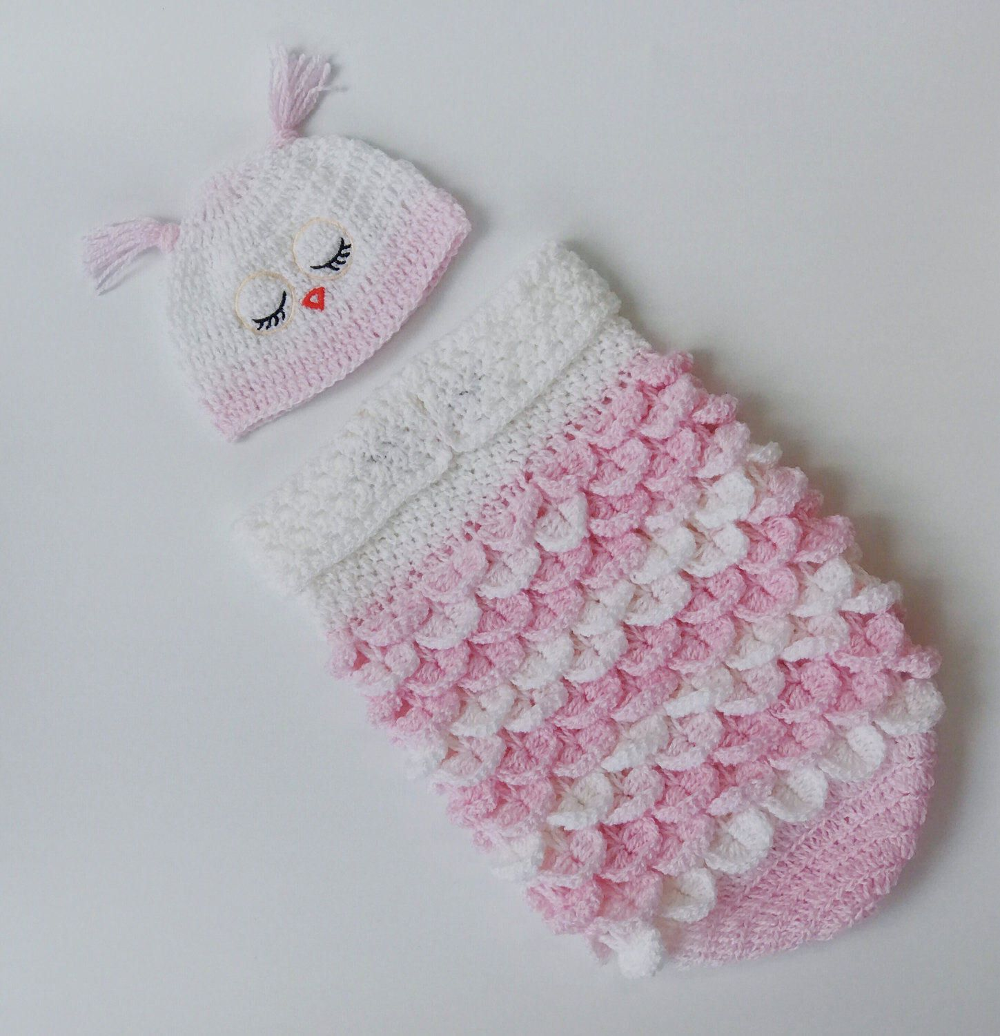 Crochet baby pattern, BABY COCOON and Cap PATTERN, Owl Sleeping Sack ...