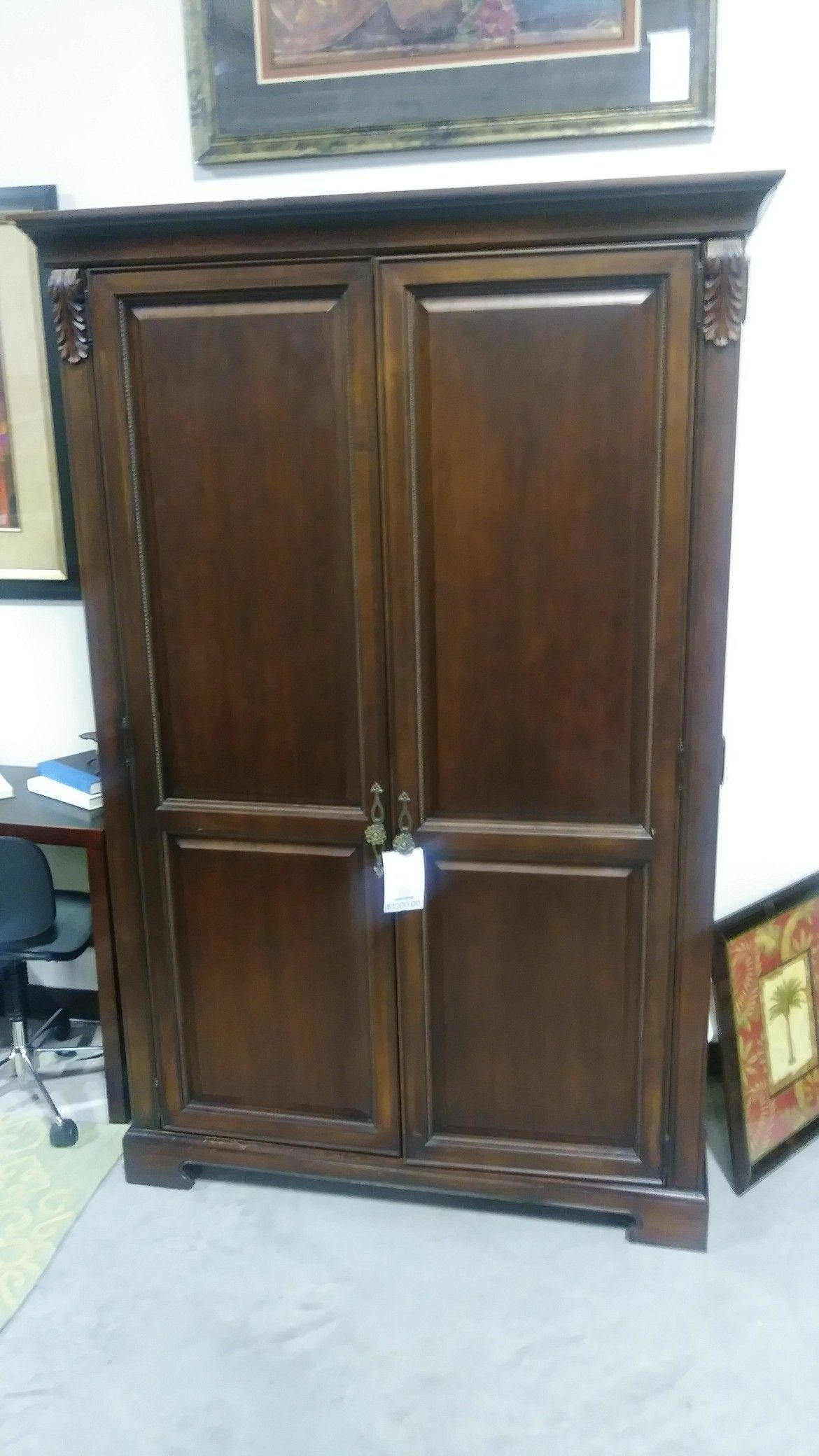 Dark Wood Finished Armoire Traditional Jewel Tones And