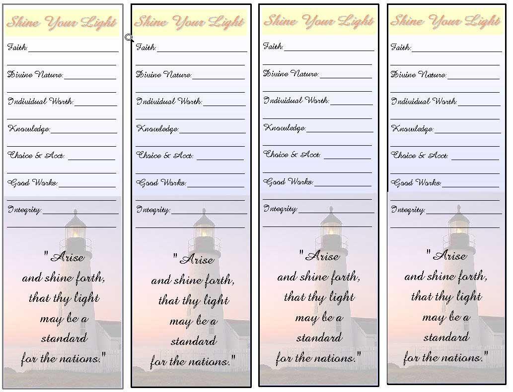 Mormon Share Personal Progress Goals Bookmark