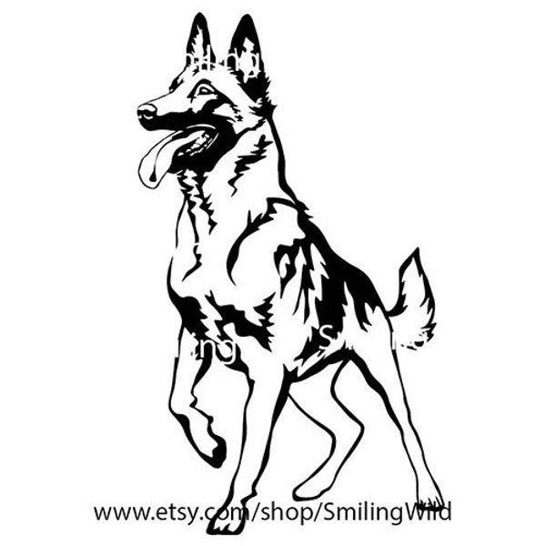 Malinois Art Dog Svg Png Clipart Belgian Shepherd Vector Etsy In 2021 Dog Svg Malinois Tattoo Belgian Malinois Tattoo