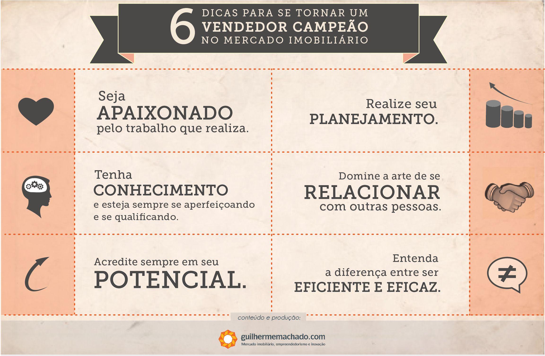Infográfico com 6 dicas para se tornar um vendedor campeão no #mercadoimobiliario.