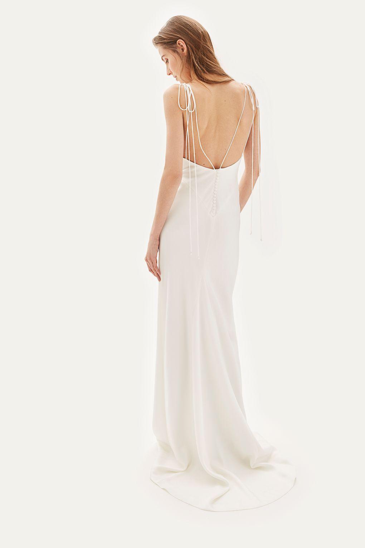 a2854d7e7e7   Satin Tie Shoulder Dress by TOPSHOP BRIDE