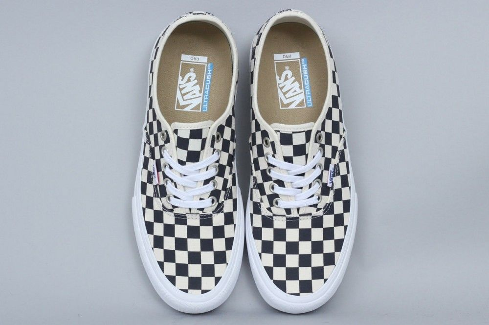 813a3dd0853556 Vans Authentic Pro Shoes Checkerboard Navy • Original Vans Lace Up • Sturdy  canvas upper • Ultracush HD sockliner • Pro vulc construction • Duracap ...