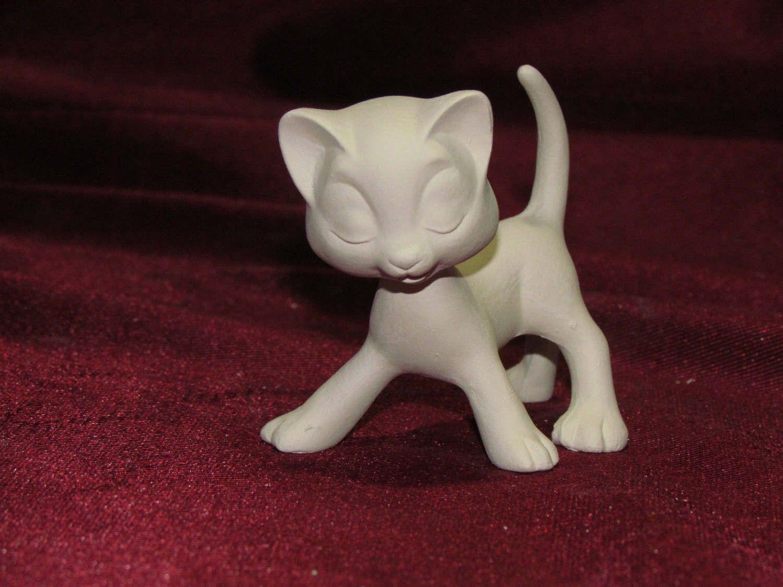 ceramic bisque u paint bobble head kitty cat 2 piece unpainted