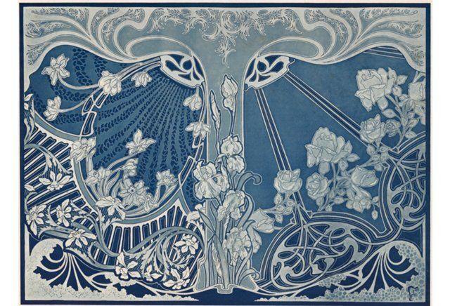 Blue & White Design Lithograph  ,  1900