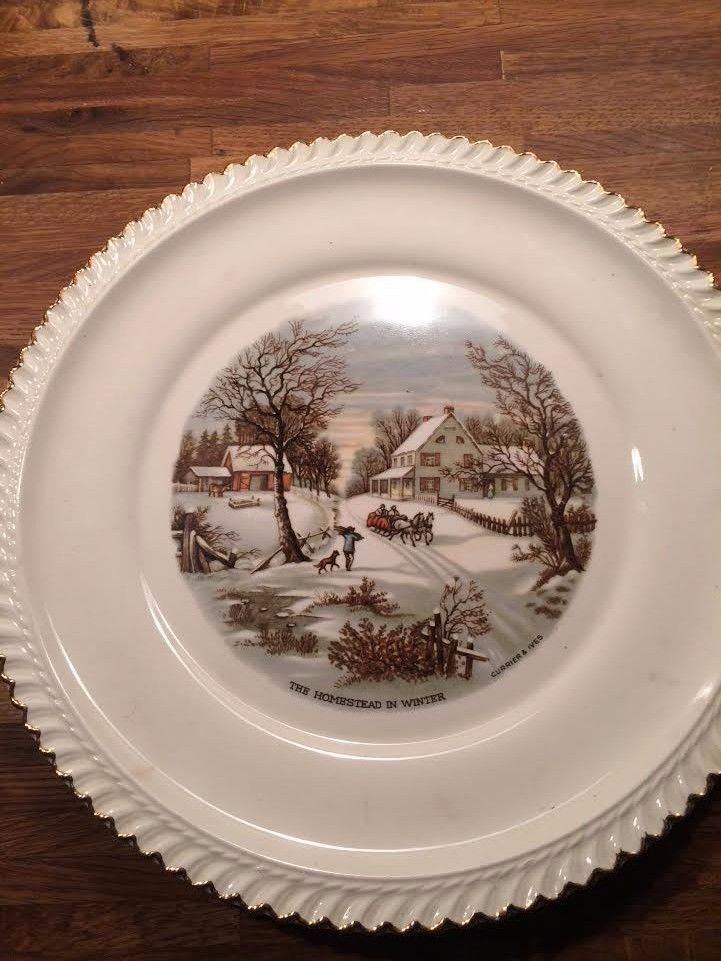 Currier & Ives The Homestead in Winter Vintage Harkerware Made in ...