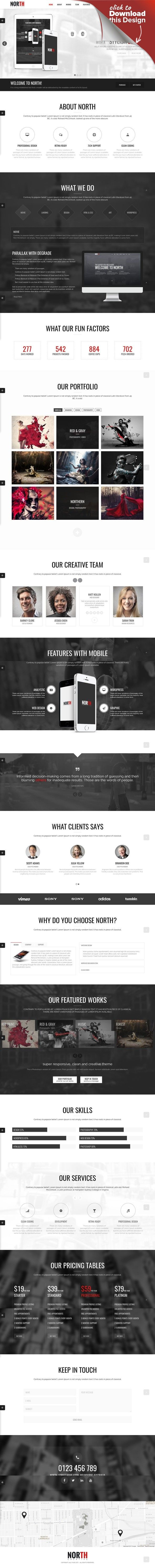 North - One Page Parallax WordPress Theme | Pricing table, Wordpress ...