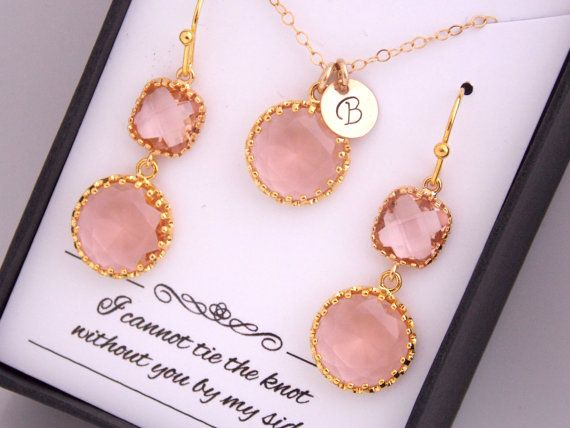 Gold Peach Earrings Peach Earring and Necklace Set Peach