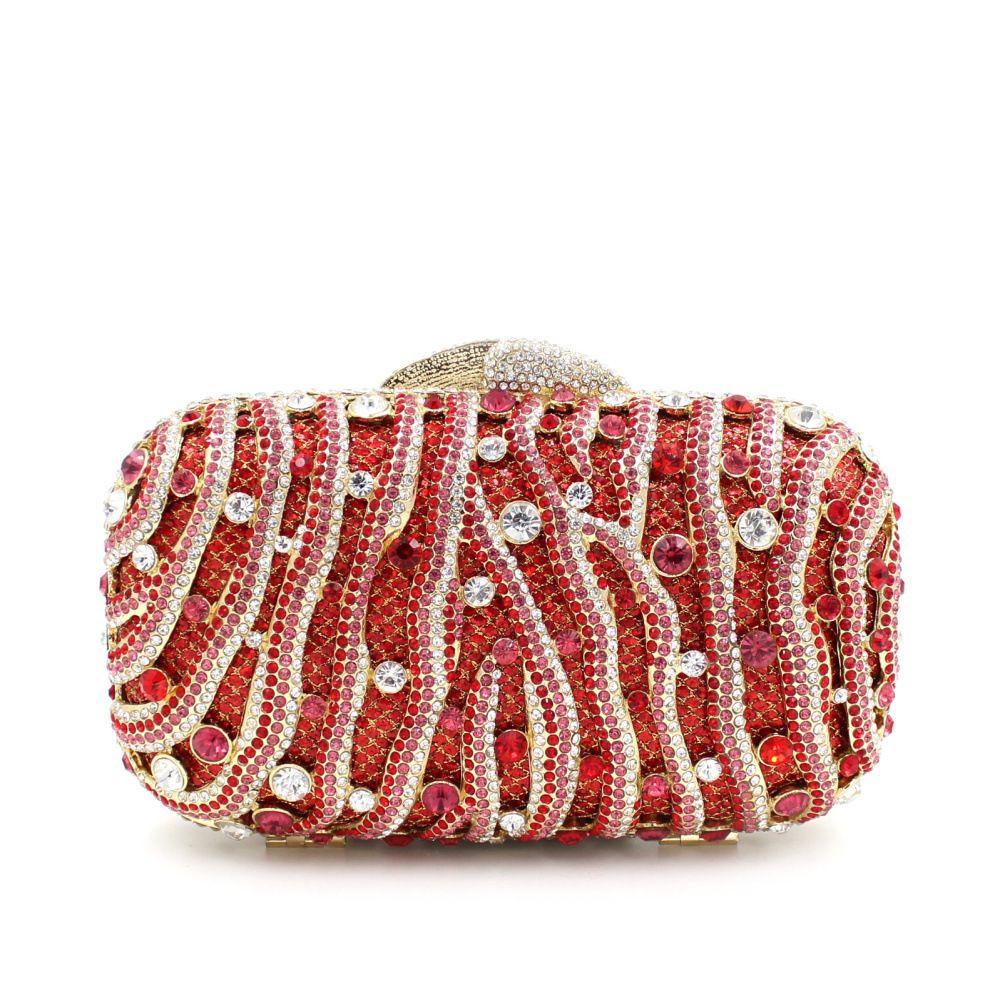 2017 New Luxury Diamonds Women Evening Bags Las Single Shoulder Handbag Crystal Hollow Wedding Party Dinner Bag Handbags Sacs