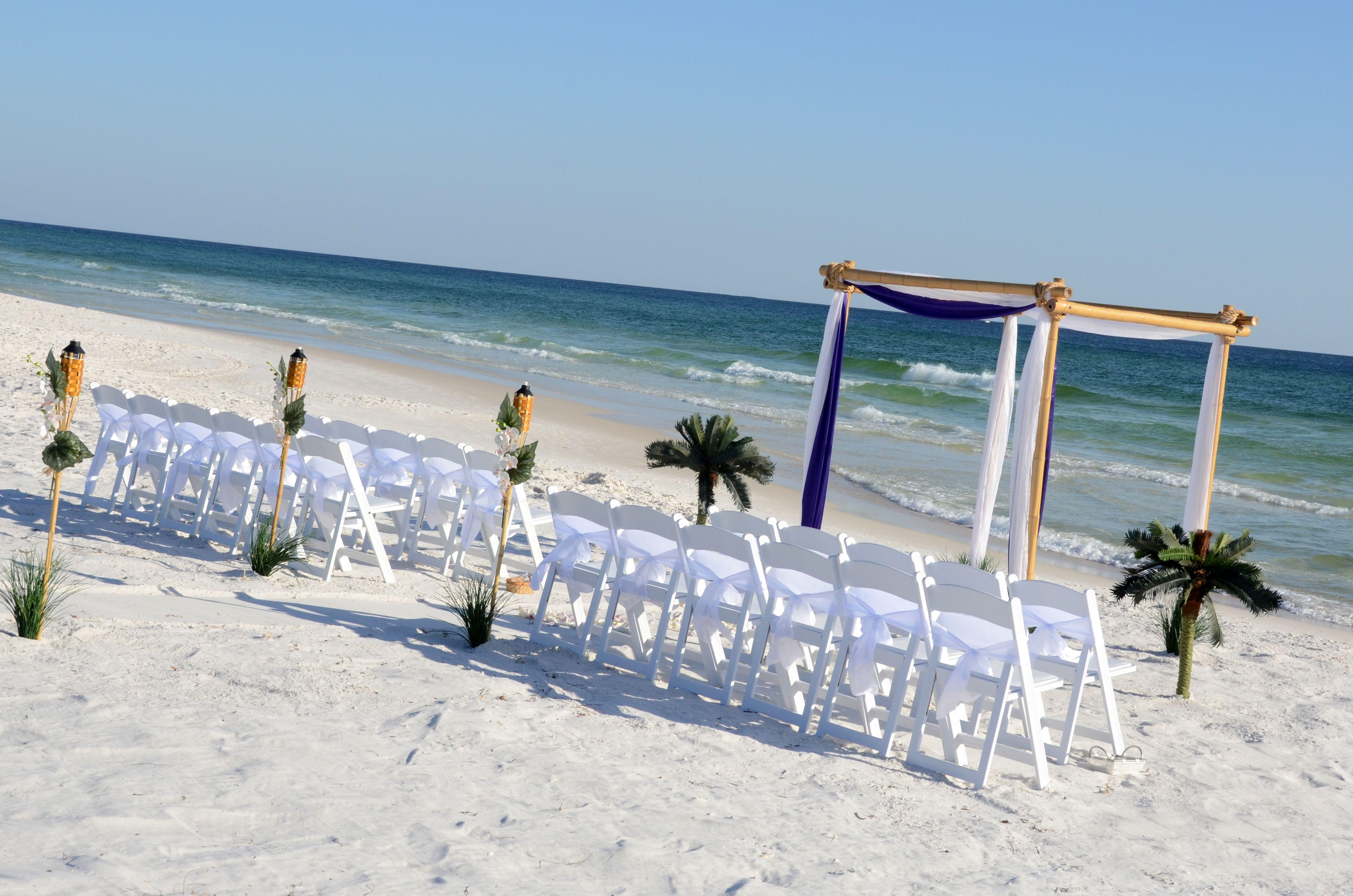 Bamboo beach wedding arbor Sunset beach weddings, Beach