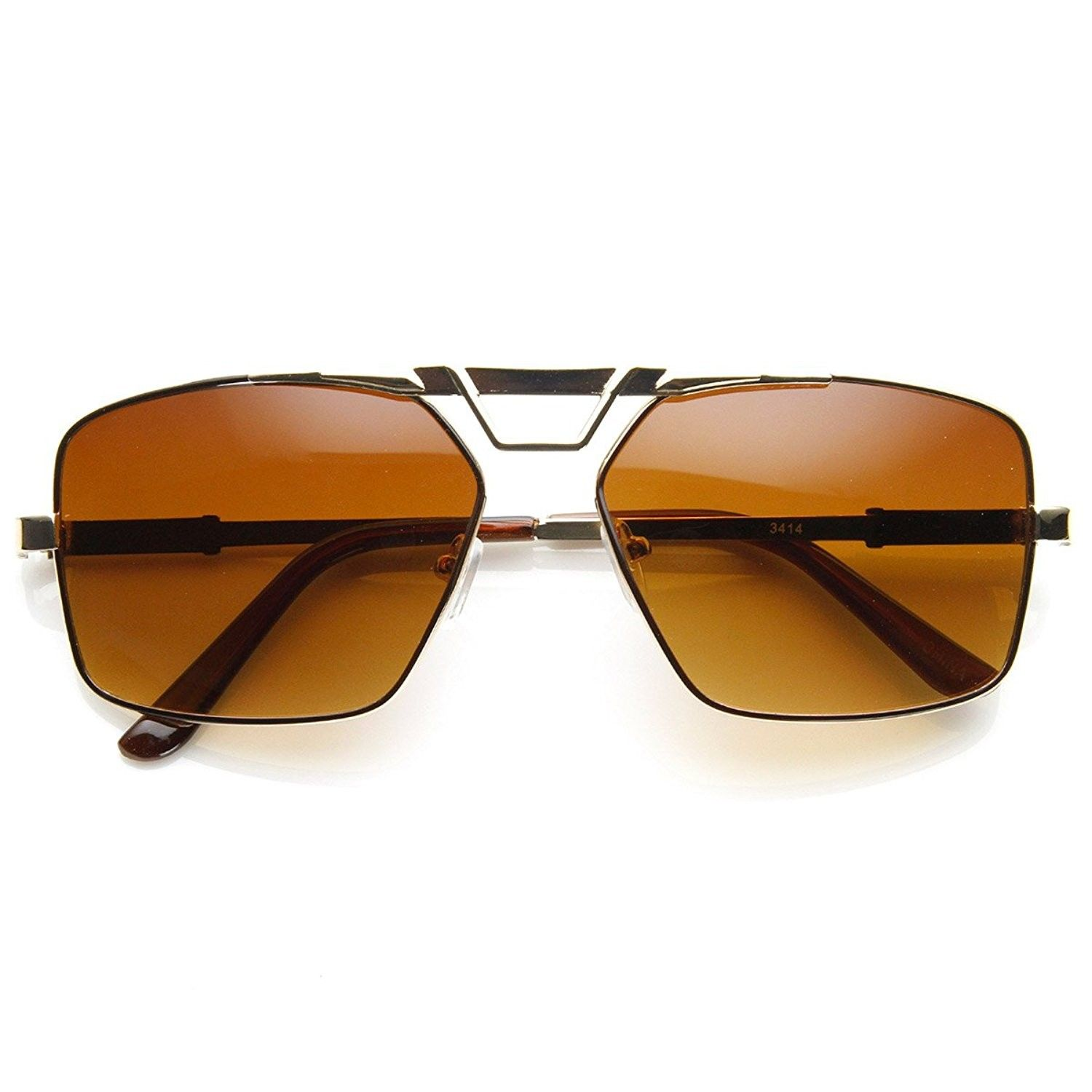 d75593f70d Modern Fashion Metal Square Frame Aviator Sunglasses - Gold Amber -  CF11G3ADF9P-Women s Sunglasses