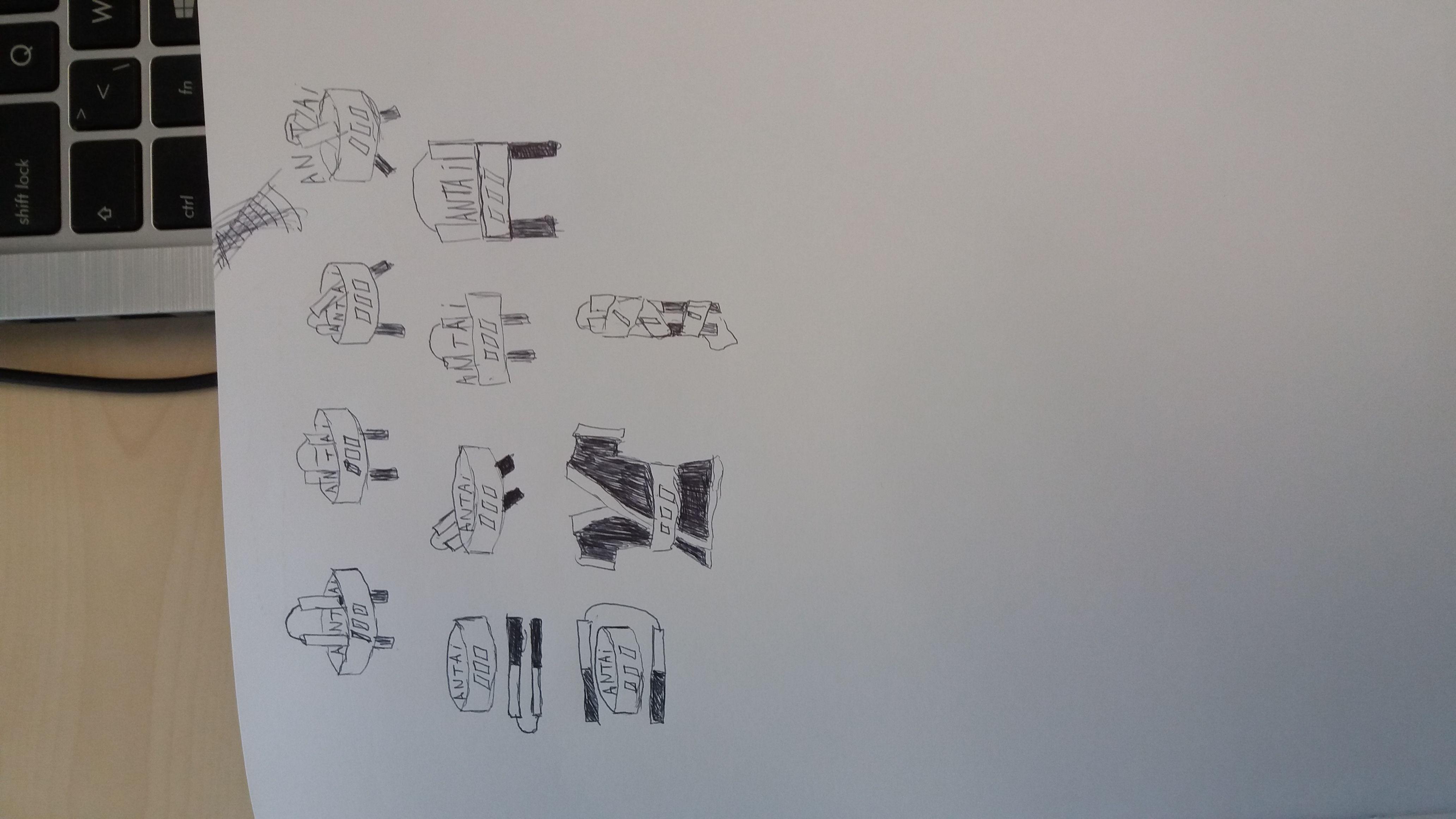 3de schetsen  Gebaseerd op resultaten van de digitale schetsen, we hebben bekeken welke elementen werkten en welke niet. Daarna zijn deze schetsen samengesteld en vervolgens ook gedigitaliseerd.