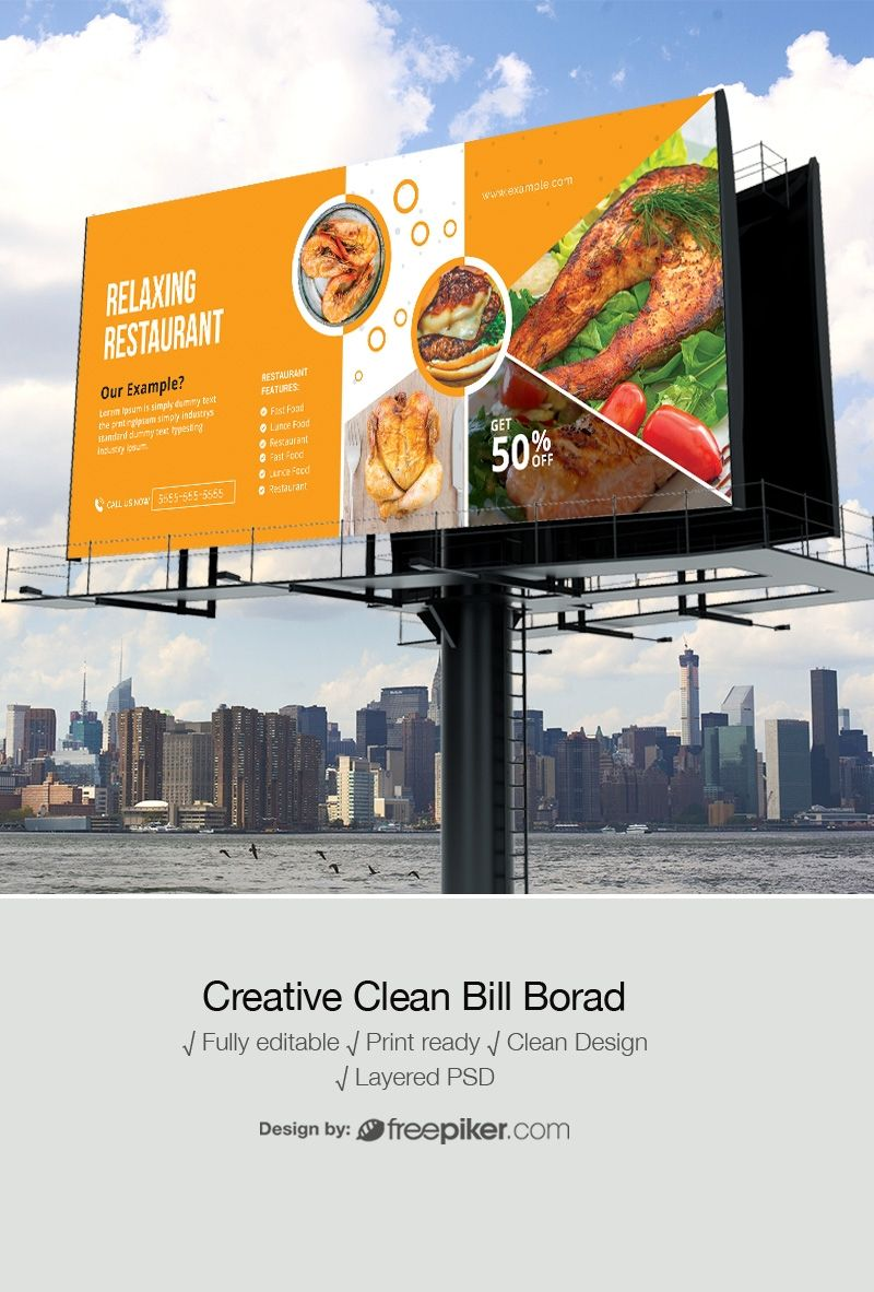 Freepiker Food Restaurant Billboard Outdoor Banner Inside Outdoor Banner Template