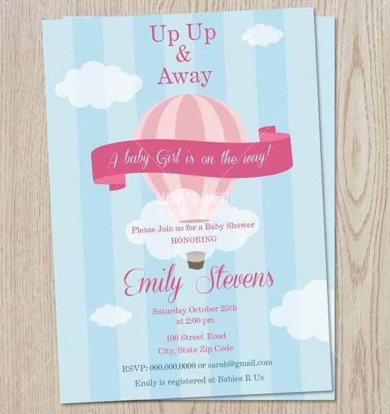 Printable Custom Hot air balloon Baby Shower- Birthday Invitation - free printable baby shower guest list