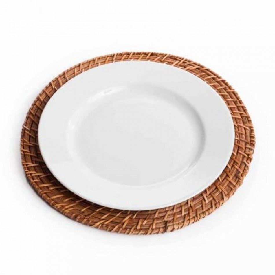 Round Rattan Charger Plate - Honey Brown Charger Plate (BULK Case of ...