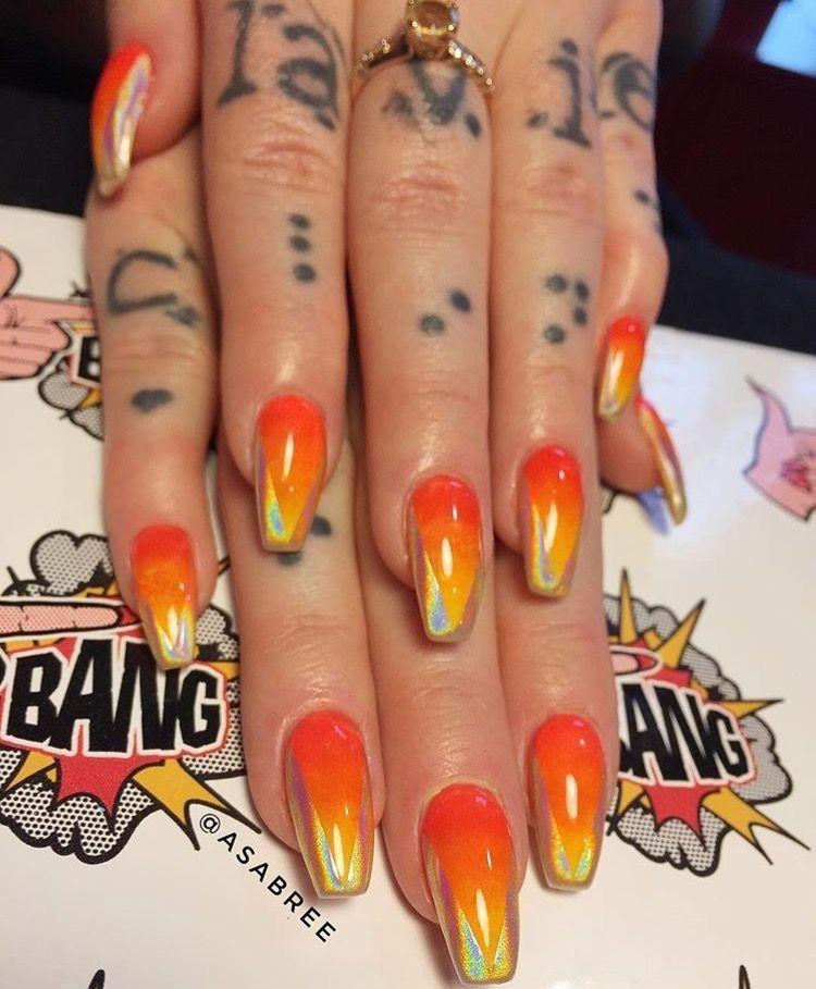 Orange & Holographic Nails #fallnails #halloweennails ...