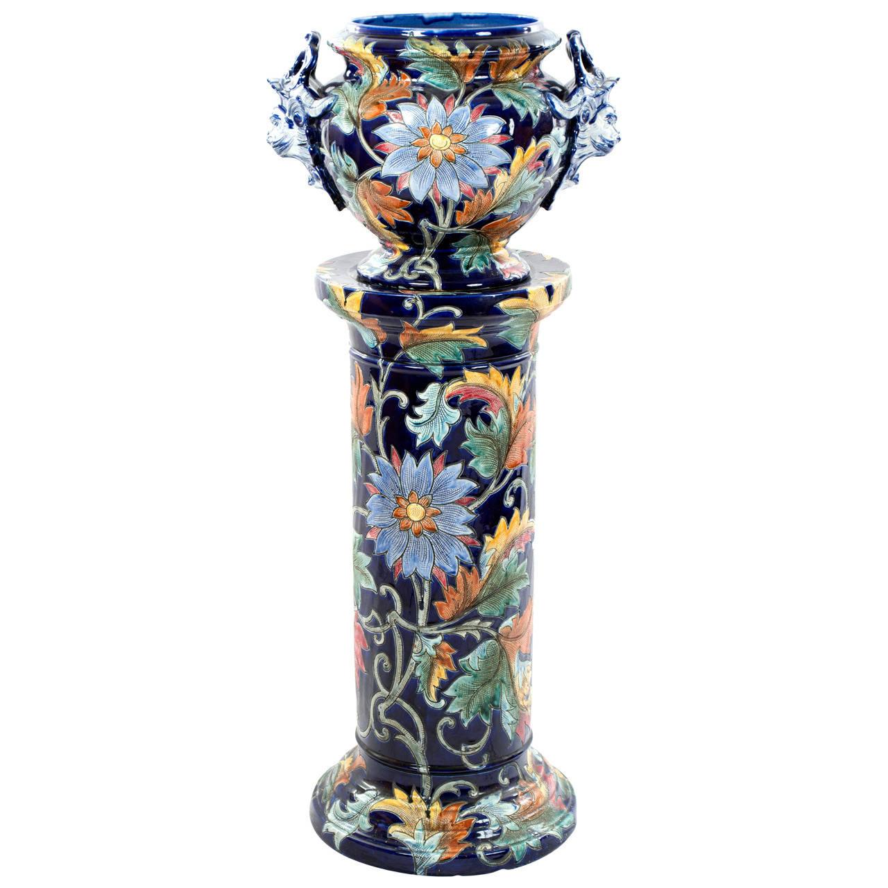 1stdibs Porcelain Majolica Vase Stand Italian Mid