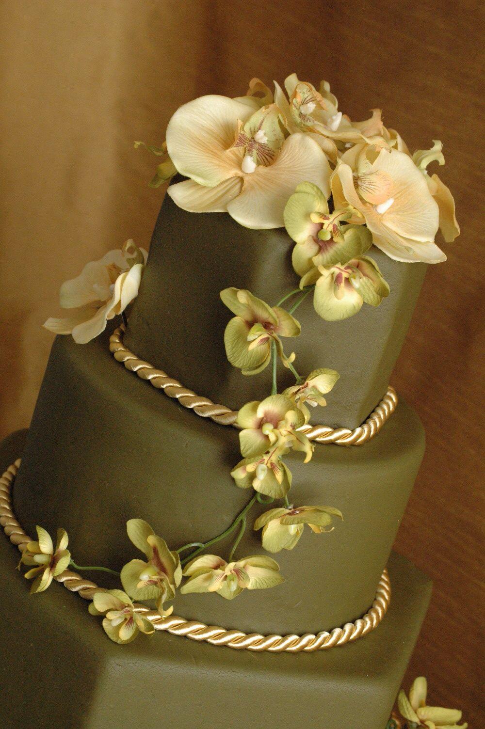 Nice Dark Green Wedding Cake With Orchids Cakes Fondant Wedding