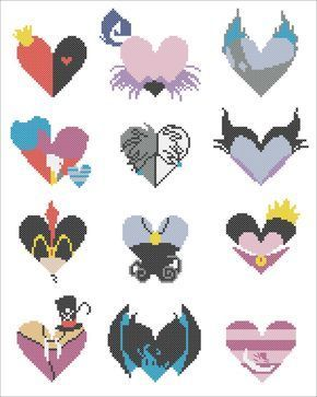 """BOGO FREE! - """"MALEFICENT""""-Maleficent  characters hearts- cross stitch pdf Pattern - pdf pattern instant download  #146 by Rainbowstitchcross on Etsy https://www.etsy.com/listing/294803665/bogo-free-maleficent-maleficent"""
