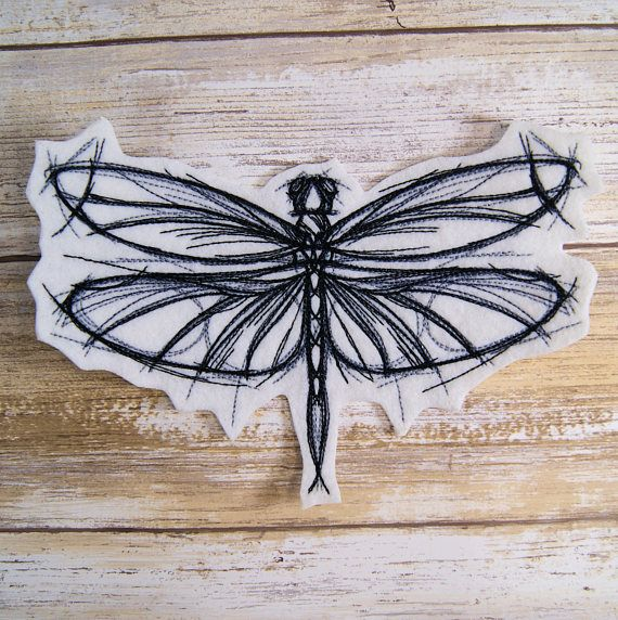 Sketchwork Dragonfly Iron On Embroidery Patch MTCoffinz   | Etsy