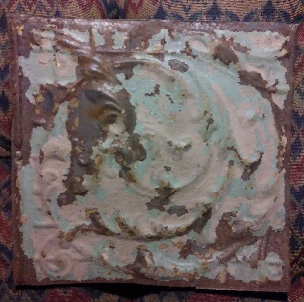 One 12in X 12in Antique Ivory Tin Ceiling Tin Tile Vintage Ceiling