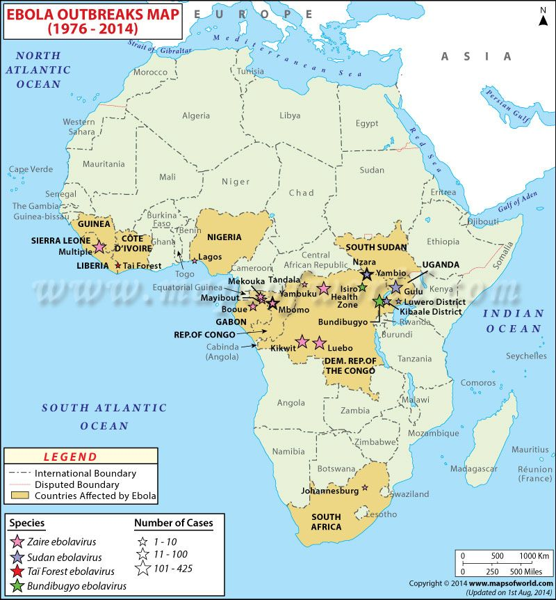 africa map of ebola