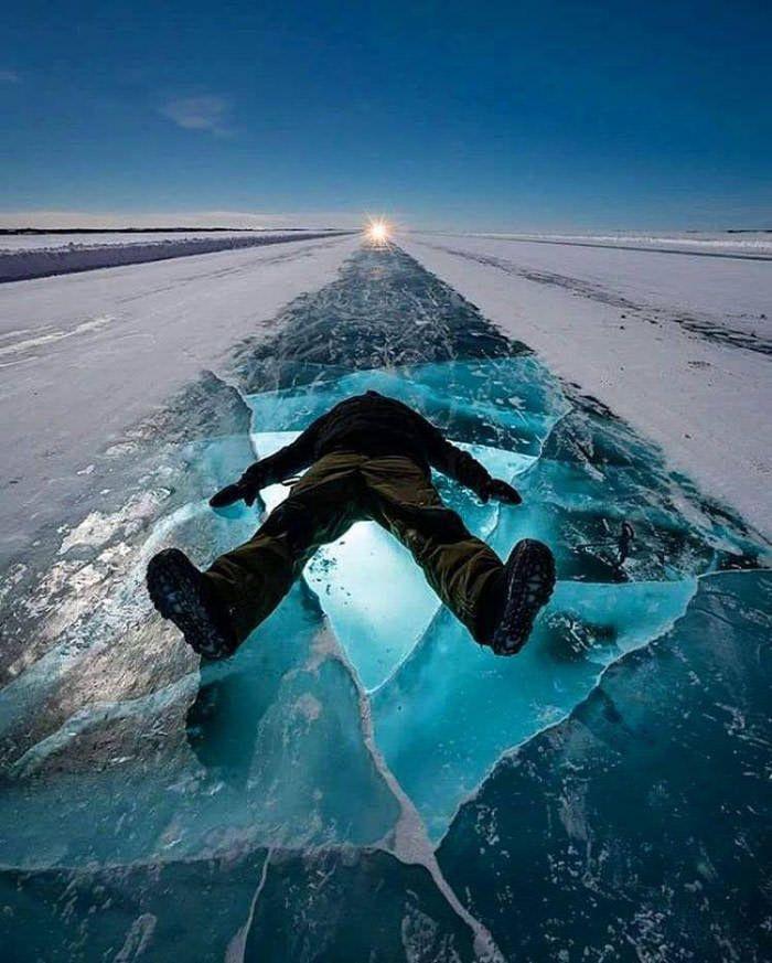 The Dettah Ice Road, Yellowknife, Canada. - 9GAG
