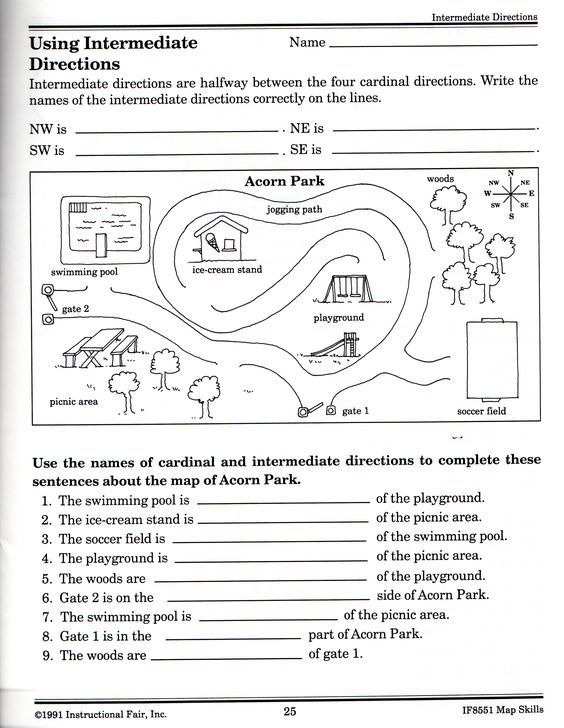 Intermediate Directions Worksheet Science Pinterest Worksheets