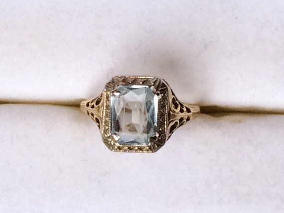 Vintage Aquamarine Ring in Filigree 14k by ScotchStreetVintage