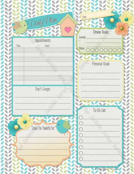 Printable Daily Planner Daily Docket Weekly Planner Family