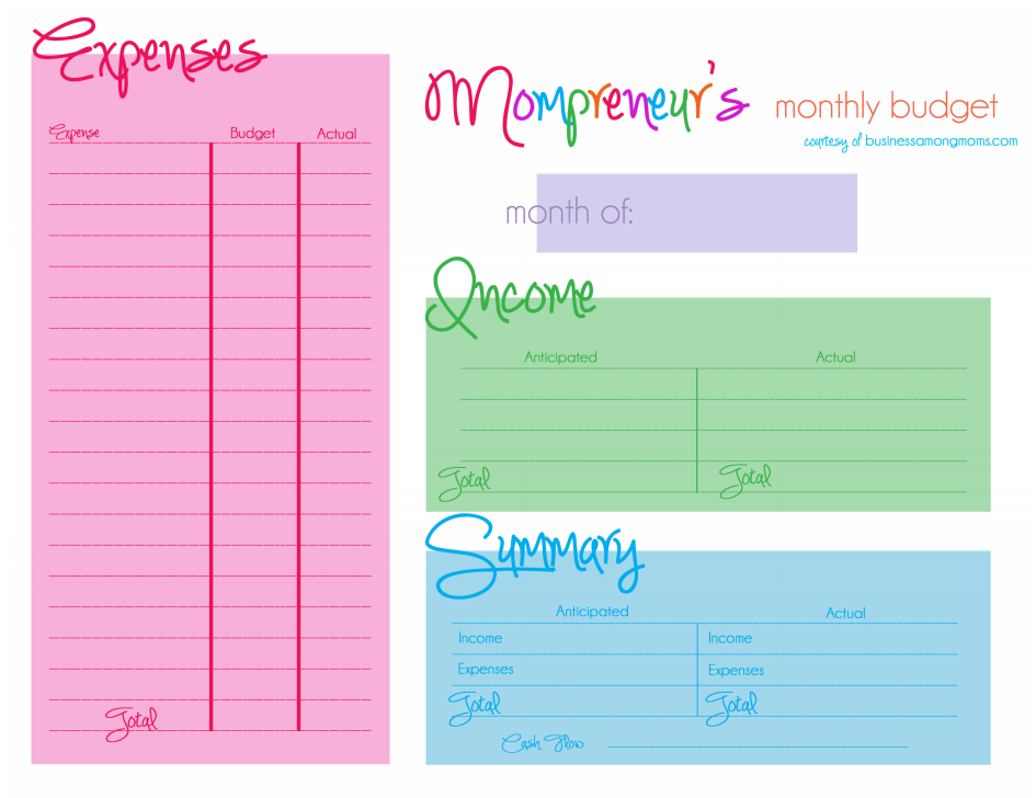 Printables Free Templates Of Income And Expenses mompreneurs learn how to budget your income and expenses free small business printable template included go get m